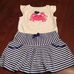 Gymboree crab shirt and striped skirt